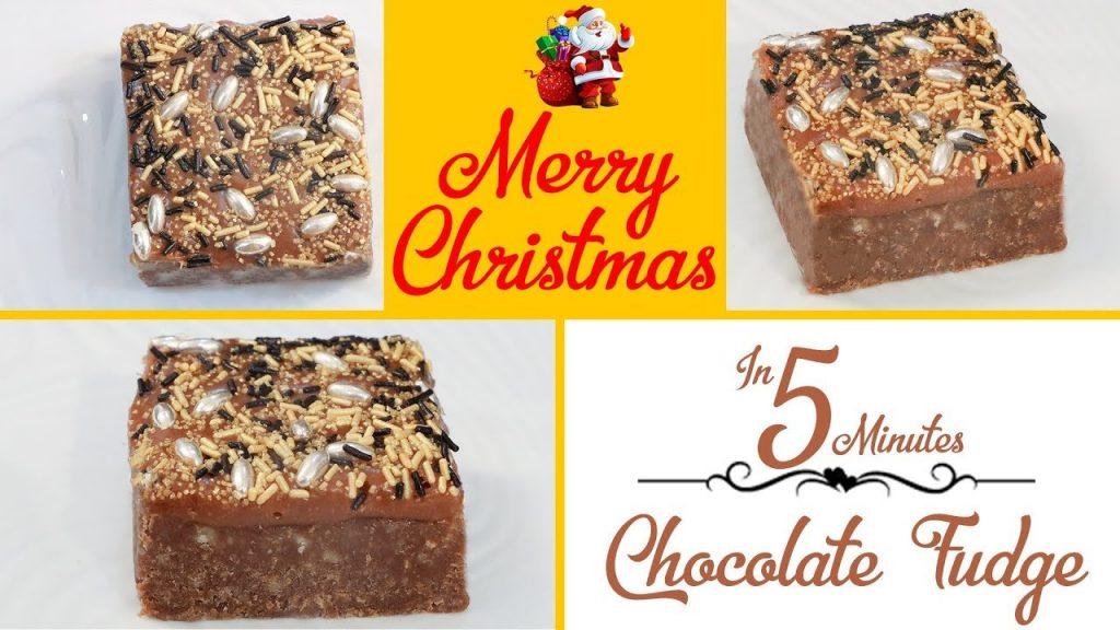 5 Min Chocolate Caramel Fudge Barfi Burfi Christmas Recipe चॉकलेट कैरामेल फ़ज बर्फी रेसिपी