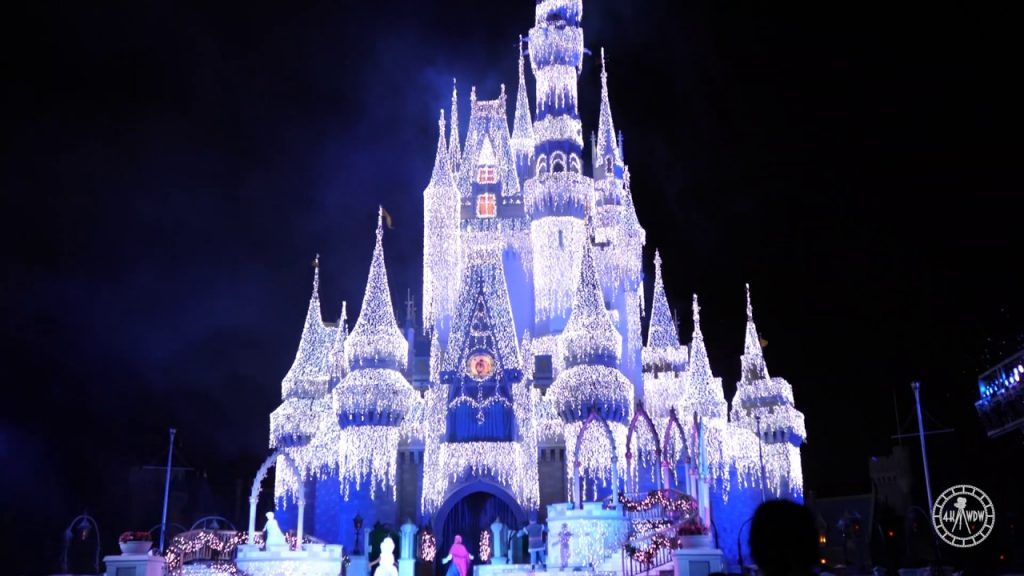 A Frozen Holiday Wish 2019 4K Magic Kingdom Cinderella Castle Christmas Lights Walt Disney World