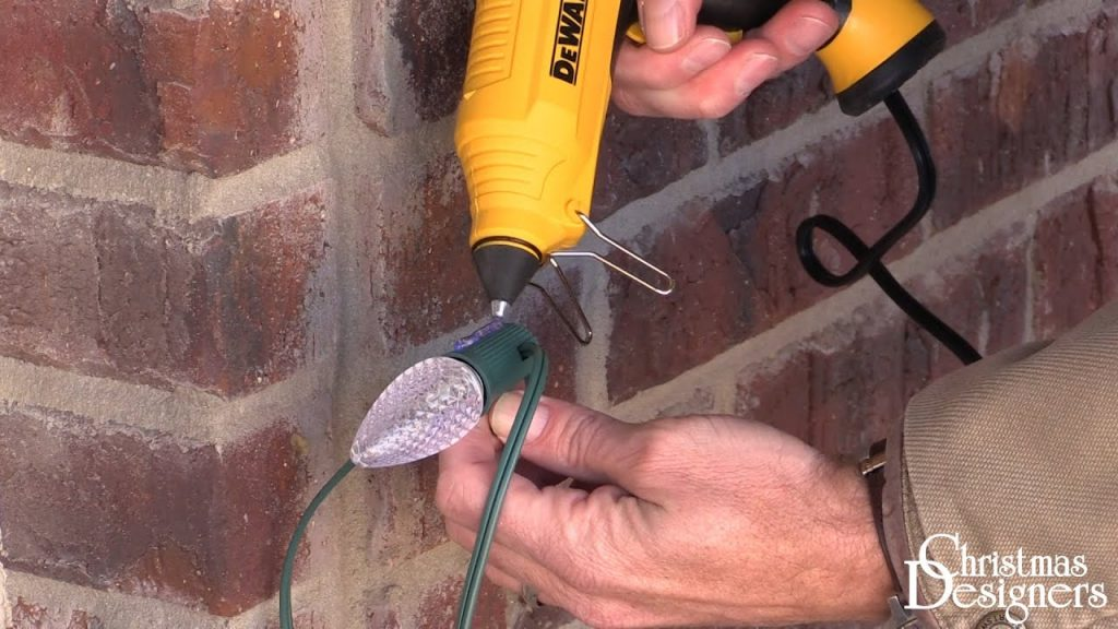 Attaching Christmas Lights to Brick with Hot Glue