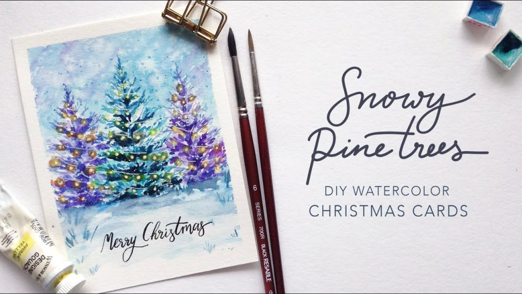 Christmas Lights on Snowy Pine Trees: DIY Watercolor Christmas Cards