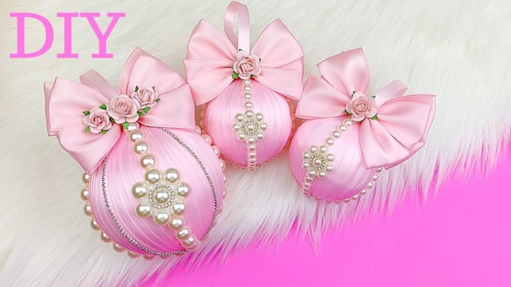 Christmas Tree Ornaments Tutorial // DIY Glam Christmas Ornaments // Girly Pink Christmas Decoration