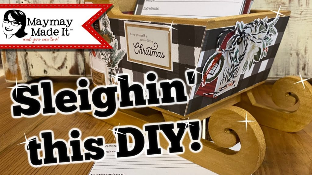 DIY Christmas Recipe Holder Sleigh